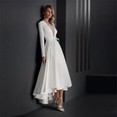 Deep V long sleeve slim dress