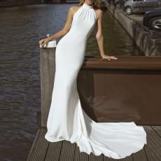 Round neck dress slim back dress
