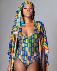 2-piece fashion printed Cape SWIMSUIT SET