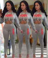 Fashion hooded embroidery letter two piece set