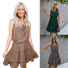 Leopard lace A-line dress