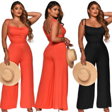 Solid shoulder strap wide leg Jumpsuit
