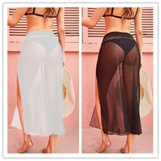Mesh stitching sexy perspective skirt