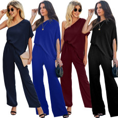 Slant shoulder Jumpsuit