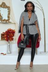 Fashion lace up casual cape coat