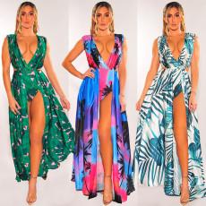Fashion split V-neck printed Swimsuit Dress