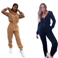 Fashion hooded solid color Jumpsuit