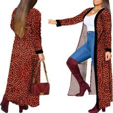 Printed long fashion casual coat