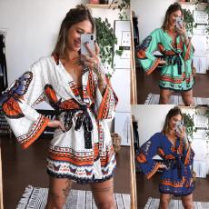 Fashion V-neck lace up print dress