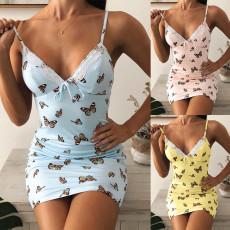 Sexy sleeveless V-neck butterfly suspender dress