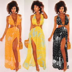 Sleeveless V-neck print drawstring dress