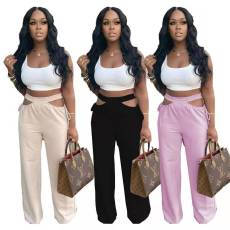 Fashionable double Waist Sports wide leg pants