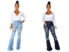 High waist burnt out flared jeans