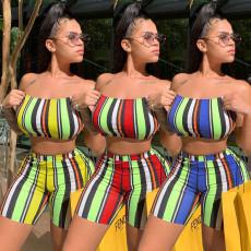 Sexy stripe slim chest shorts two piece set