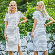 Casual stripe knitted dress