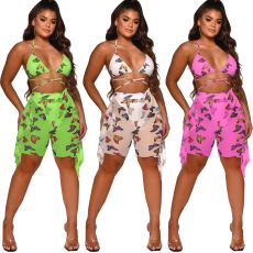 Two piece digital printing swimsuit with mesh (including underwear)