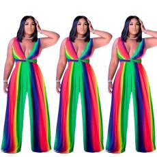 Fashion sexy Rainbow Stripe Jumpsuit