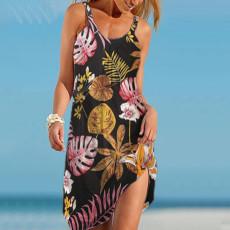 Digital print floral suspender dress