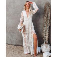 Lace long sleeve V-neck solid Chiffon Dress