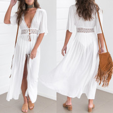 Fashion solid short sleeve lace dress