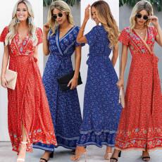 V-neck lace up long dress