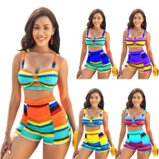Fashion print sexy split swimsuit two piece suit