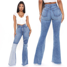 Sexy fashion stitched jeans with holes