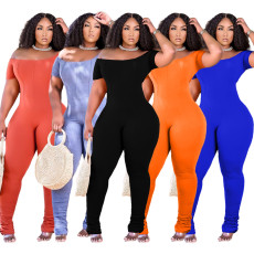Tight pleated solid pit Jumpsuit