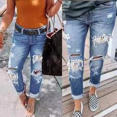 Fashionable casual hole water wash jeans