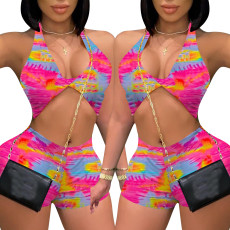Fashion print sexy neck two piece set