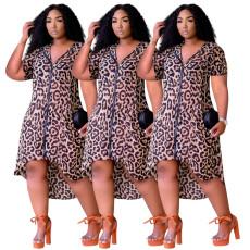 Casual leopard zipper hooded cardigan dress