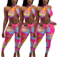 Sexy gradient rainbow print two piece set