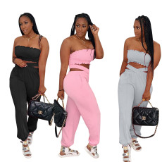 Elastic bra cross double pants sports casual suit