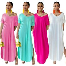 Fashionable home casual split dress