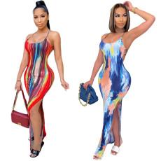 Tie dye print Halter open back split dress