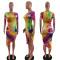 Fashion thread tie dye print dress