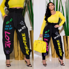 Fashion print lace up casual pants (including belt)