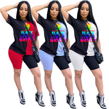 Two piece fashion casual printed short sleeve T-shirt