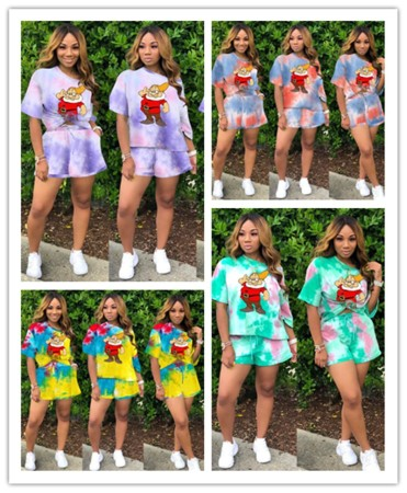 Fashion casual print short sleeve two piece set