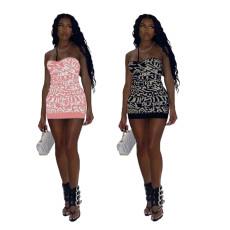 Sexy fashion print bra dress