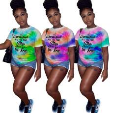 Casual fashion tie dye printed T-shirt