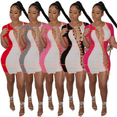 Patchwork cut out bandage dress