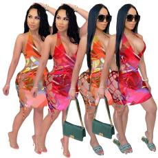 Sexy print drawstring dress