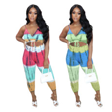 Fashion tie dyeing positioning printing casual suit
