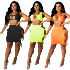 Cut out side lace up sexy two piece set