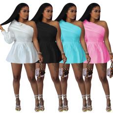 Fashion solid off shoulder one piece dress