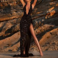 Sexy V-neck sleeveless neck dress
