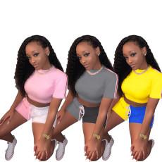 Solid color short sleeve Shorts Set