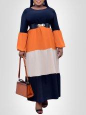 Stripe contrast Long Sleeve Dress