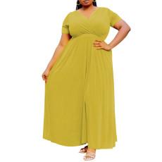 Solid large swing skirt short sleeve long skirt